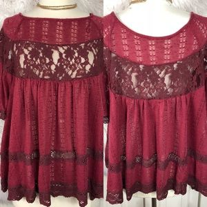 Free People Lace Crochet Babydoll Top